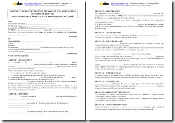 Modéle de contrat de travail CDD à temps partiel prévoyant une modulation du temps de travail pour accroissement de l'activité