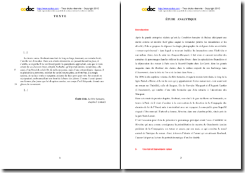 Emile Zola, La Bête humaine, Chapitre I, Extrait : étude analytique