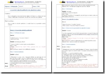 Fiche de préparation : l'accord de l'adjectif et des adjectifs de couleur (CM2)