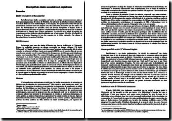 Rapport descriptif des études suivies pour accompagner le dossier d'entrée en classe préparatoire à l'Ecole du Louvre