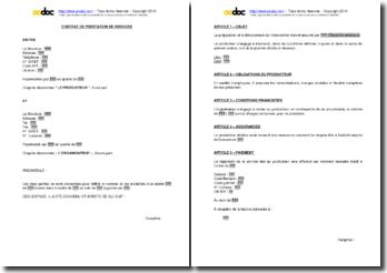 Contrat de prestation de services pour des ateliers artistiques