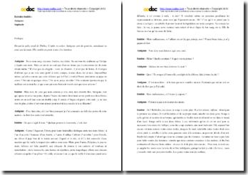 Commentaire comparé : les prologues de l'Antigone de Sophocle et de Cocteau