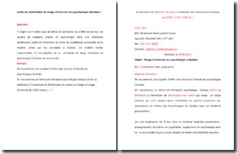Lettre de motivation pour un stage d'internat en psychologie (Québec)