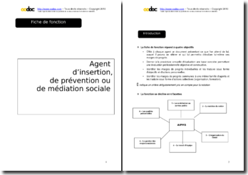 Auto-évaluation - Agent d'insertion, de prévention ou de médiation sociale