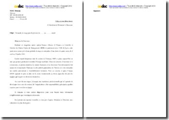 Lettre de demande de stage : service financier d'EDF
