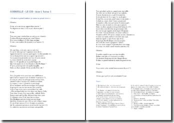 Corneille, Le Cid, Acte I scène 1 : « Et dans ce grand bonheur je crains un grand revers «