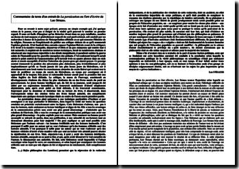 Commentaire analytique d'un extrait de La persécution et l'art d'écrire de Leo Strauss