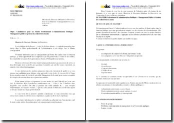 Lettre de demande d'admission pour un Master en Administration publique et méthodologie