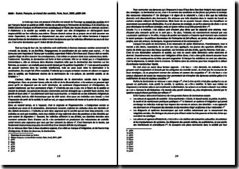 François Dubet, Le travail des sociétés, extrait : fiche de lecture