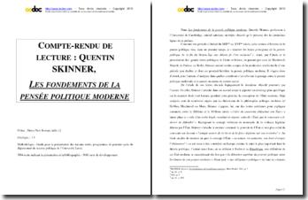 Quentin Skinner, Les fondements de la pensée politique moderne : commentaire