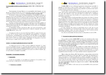 La responsabilité du fait des produits défectueux (articles 1386-1 à 1386-18 du Code civil)