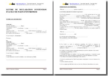 Lettre de déclaration d'intention d'achat de parts d'entreprise