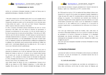 Commentaire des Lettres de commission d'intendant données à Aubert de Tourny pour la généralité de Bordeaux
