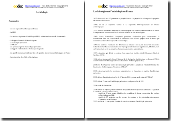 L'administration de l'Archéologie en France : fiches de révision