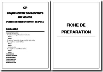 Séquence de Découverte du monde pour la classe de CP : Fusion et solidification de l'eau