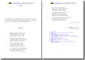 Victor Hugo, Les Châtiments, Ultima verba (VII, 17) : étude analytique