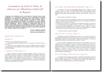 Bergson, Evolution créatrice : explication de texte