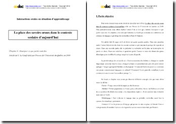Bergeron et Plessis-Bélair, La place des savoirs oraux dans le contexte scolaire d'aujourd'hui, Chapitre 9 : analyse