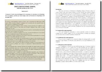 Commentaire du rapport de la commission de rénovation et de déontologie de la vie publique, présidée par Lionel Jospin, remis au Président de la République le 9 novembre 2012