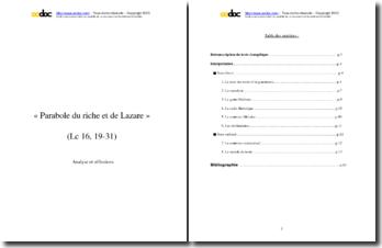 Parabole du riche et de Lazare : analyse et réflexions