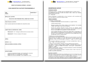 Fiche d'activité U6 BTS Notariat : rédaction d'une promesse synallagmatique de vente