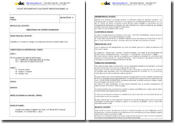 Fiche d'activité U6 BTS Notariat : rédaction d'un contrat de mariage