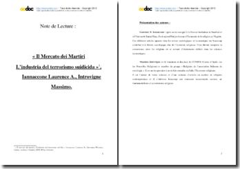 Iannaccone Laurence A. et Introvigne Massimo, Il Mercato dei Martiri. L'industria del terrorismo : notes de lecture