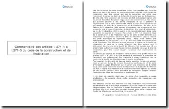 Commentaire comparé des articles L. 271-1 à L.271-3 du Code de la construction et de l'habitation