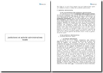 Juridictions et activités administratives locales