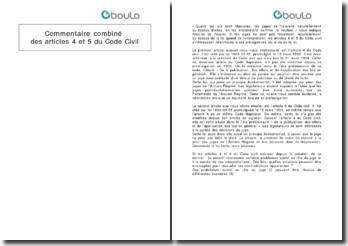 Commentaire combiné des articles 4 et 5 du Code Civil