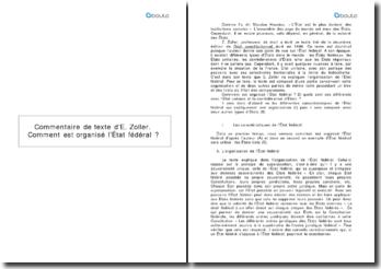 Droit constitutionnel - E. Zoller (1999) : comment est organisé l'État fédéral ?