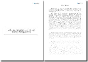 Lettre de motivation pour intégrer Sciences Po Paris