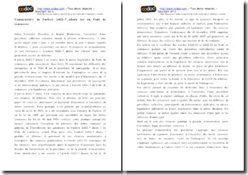 Commentaire de l'article L622-7 alinéa 1er du Code de Commerce