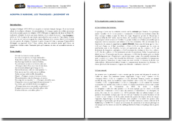 Agrippa d'Aubigné, Les tragiques, Jugement, Extrait : commentaire composé