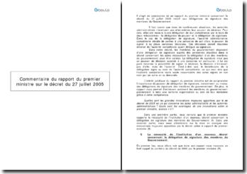 Commentaire du rapport du premier ministre sur le décret du 27 juillet 2005