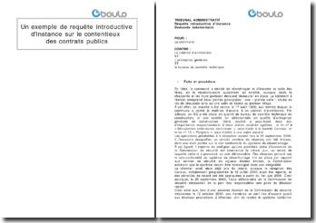 Un exemple de requête introductive d'instance sur le contentieux des contrats publics