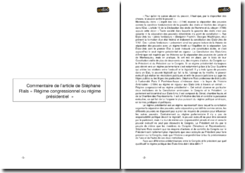 Commentaire de l'article de Stephane Rials « Régime congressionnel ou régime présidentiel »
