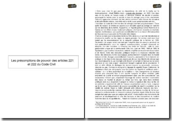 Les présomptions de pouvoir des articles 221 et 222 du Code civil