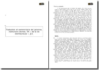 Institutions divines, Chapitre VII, paragraphe 3 - Lactance : de la vie bienheureuse