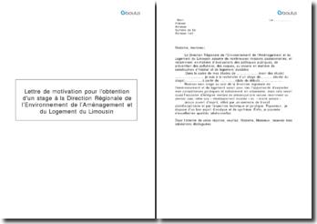 Lettre de motivation pour l'obtention d'un stage à la Direction Régionale de l'Environnement de l'Aménagement et du Logement du Limousin