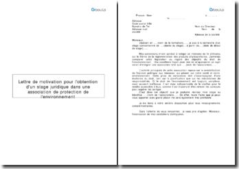 Lettre de motivation pour l'obtention d'un stage juridique dans une association de protection de l'environnement