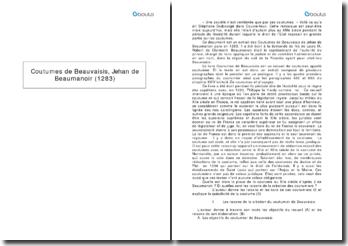 Coutumes de Beauvaisis - Jehan de Beaumanoir (1283)