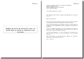 Modèle de lettre de motivation pour un poste dans la vente en réponse à une annonce