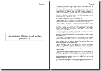 Conseils pratiques pour l'écriture journalistique : Les principales difficultés liées à l'écriture journalistique