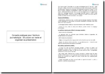 Conseils pratiques pour l'écriture journalistique : Structurer son texte et organiser sa présentation
