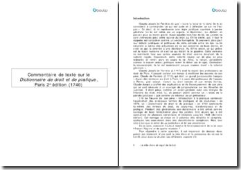 Commentaire de texte sur le Dictionnaire de droit et de pratique