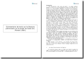 dissertation discours préliminaire portalis