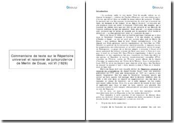 Commentaire de texte sur le Répertoire universel et raisonné de jurisprudence - Merlin de Douai