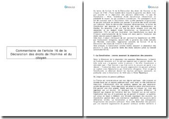 Commentaire de l'article 16 de la Déclaration des Droits de l'Homme et du Citoyen