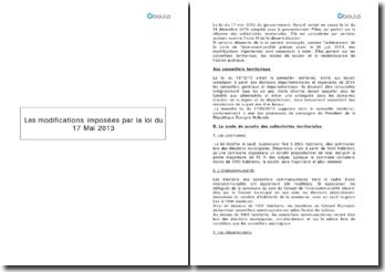 Collectivités territoriales : les modifications imposées par la loi du 17 mai 2013